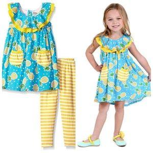 Jelly The Pug Pineapple Knit Dress Legging Set New